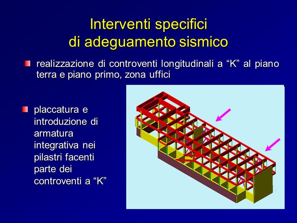 realizzazione di controventi longitudinali a K al piano terra e piano primo, zona uffici Interventi specifici di adeguamento sismico placcatura e intr