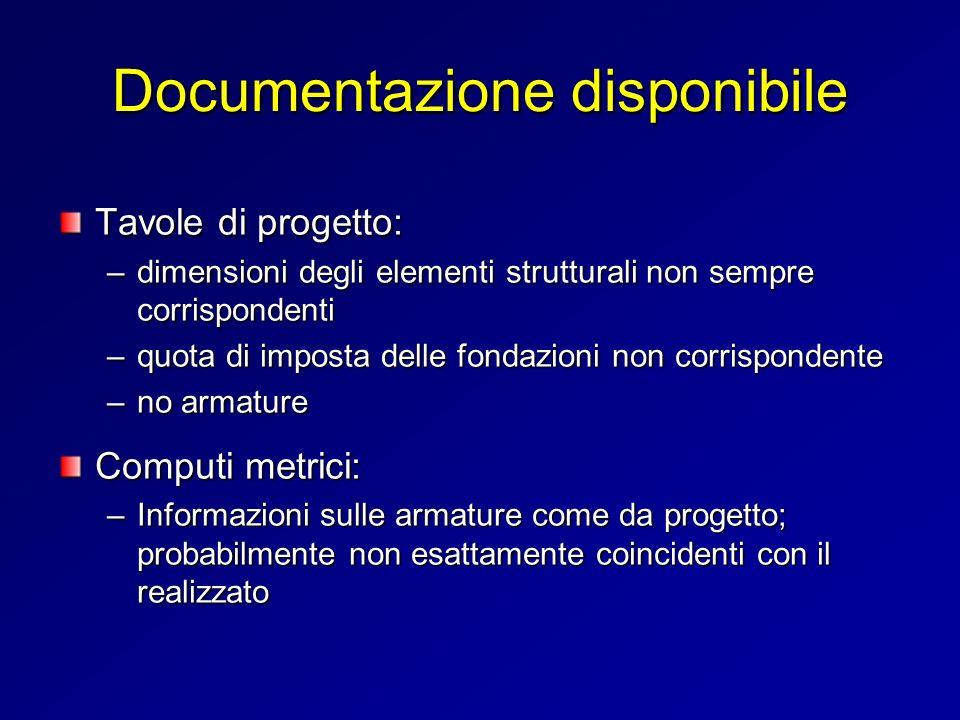 Documentazione disponibile Tavole di progetto: –dimensioni degli elementi strutturali non sempre corrispondenti –quota di imposta delle fondazioni non