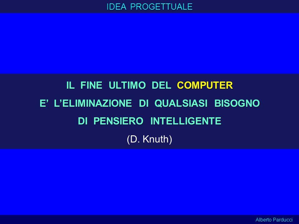 IDEA PROGETTUALE Alberto Parducci IL FINE ULTIMO DEL COMPUTER E LELIMINAZIONE DI QUALSIASI BISOGNO DI PENSIERO INTELLIGENTE (D. Knuth)