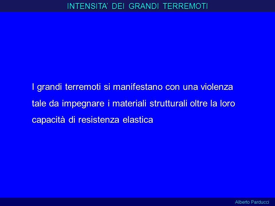 I grandi terremoti si manifestano con una violenza tale da impegnare i materiali strutturali oltre la loro capacità di resistenza elastica INTENSITA D