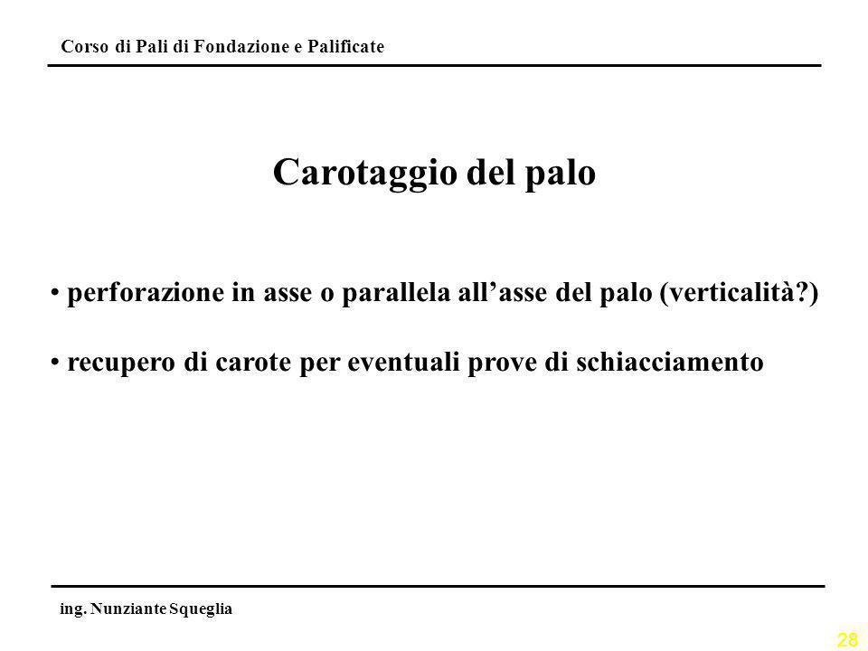 28 Corso di Pali di Fondazione e Palificate ing. Nunziante Squeglia Carotaggio del palo perforazione in asse o parallela allasse del palo (verticalità