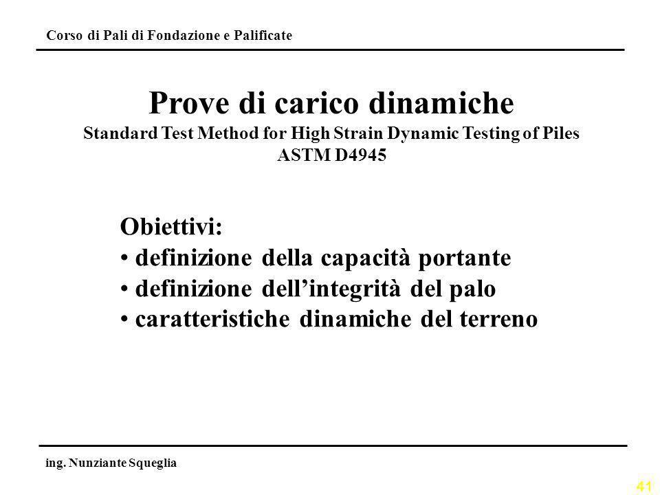 41 Corso di Pali di Fondazione e Palificate ing. Nunziante Squeglia Prove di carico dinamiche Standard Test Method for High Strain Dynamic Testing of