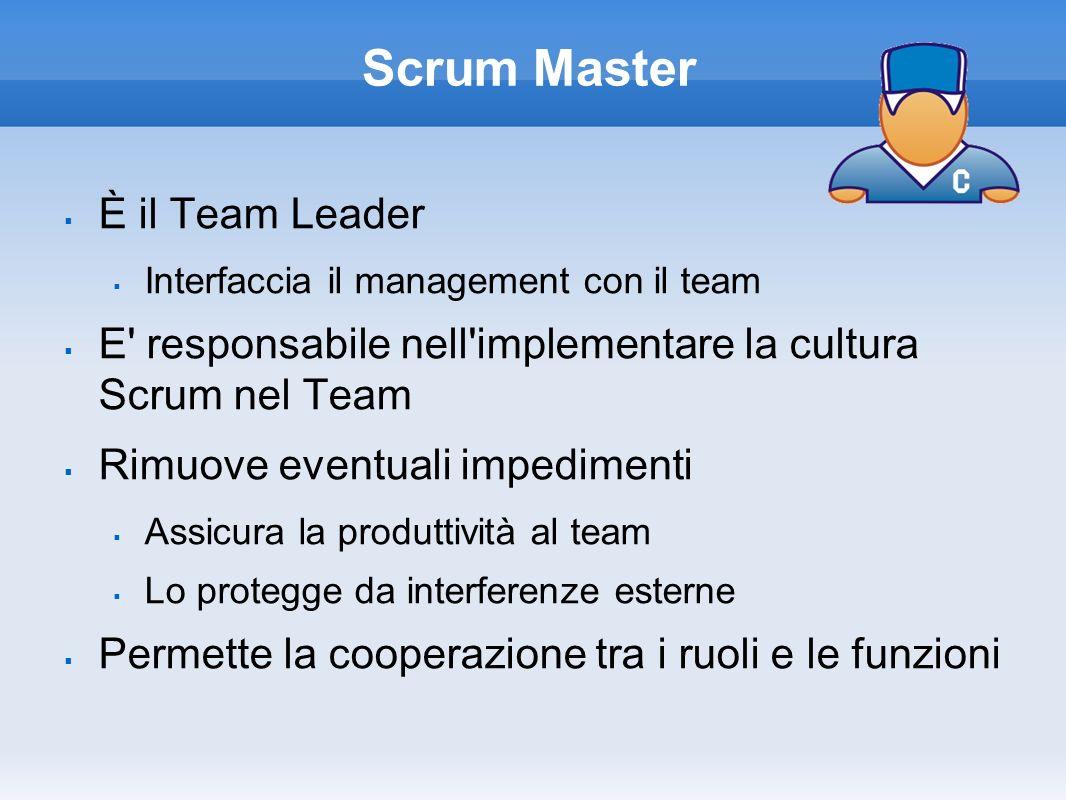 Scrum Master È il Team Leader Interfaccia il management con il team E' responsabile nell'implementare la cultura Scrum nel Team Rimuove eventuali impe