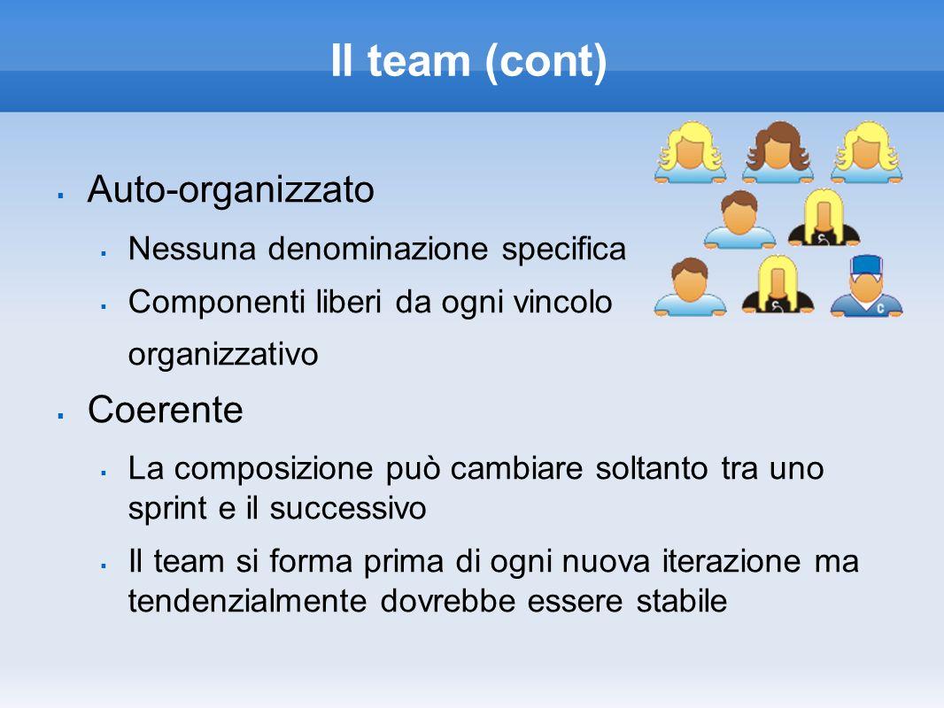 Il team (cont) Auto-organizzato Nessuna denominazione specifica Componenti liberi da ogni vincolo organizzativo Coerente La composizione può cambiare