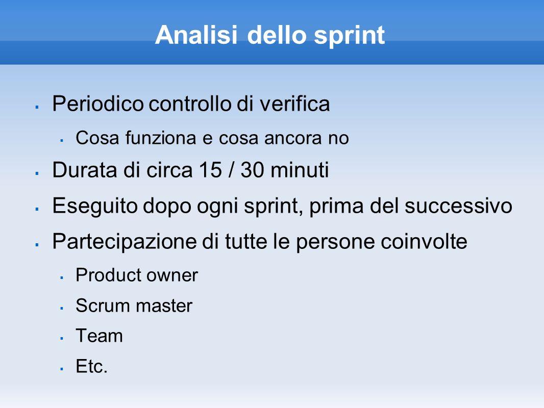 Analisi dello sprint Periodico controllo di verifica Cosa funziona e cosa ancora no Durata di circa 15 / 30 minuti Eseguito dopo ogni sprint, prima de