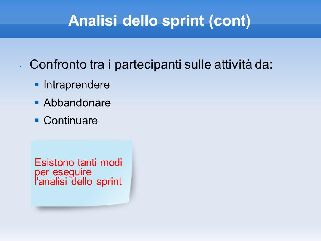 Analisi dello sprint (cont) Confronto tra i partecipanti sulle attività da: Intraprendere Abbandonare Continuare Esistono tanti modi per eseguire l'an