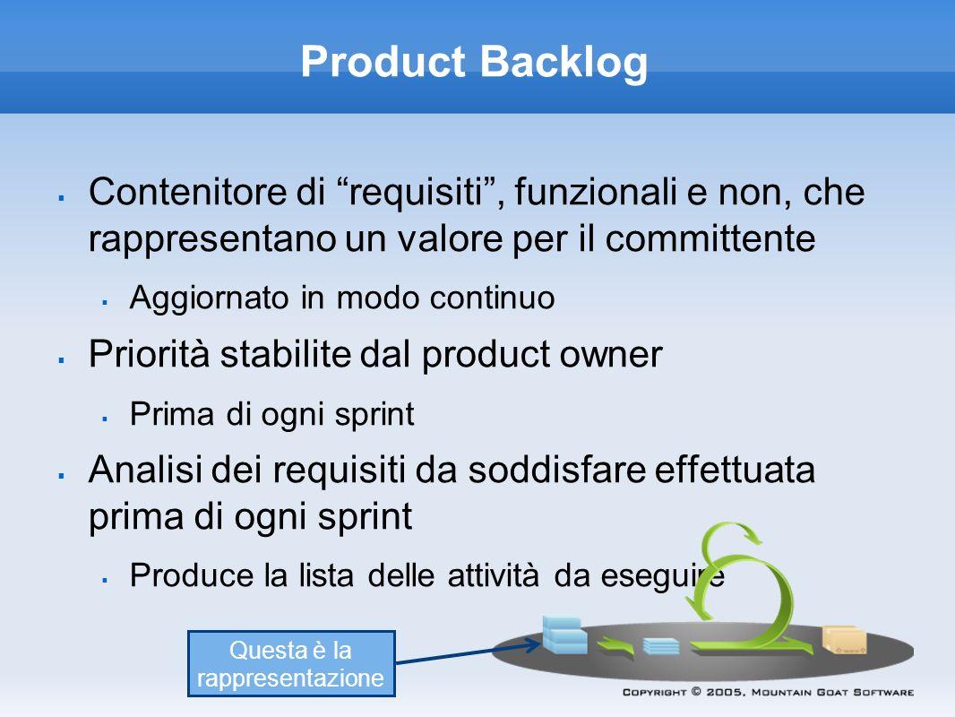 Product Backlog Contenitore di requisiti, funzionali e non, che rappresentano un valore per il committente Aggiornato in modo continuo Priorità stabil