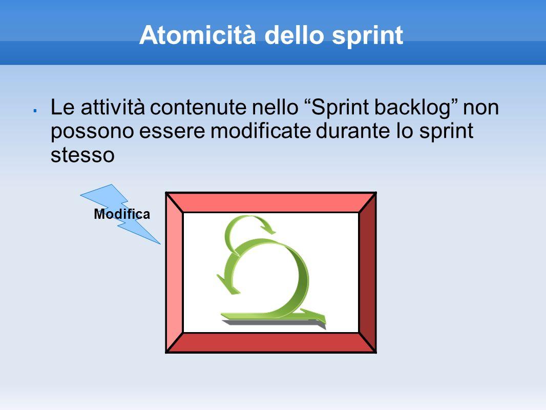 Atomicità dello sprint Le attività contenute nello Sprint backlog non possono essere modificate durante lo sprint stesso Modifica