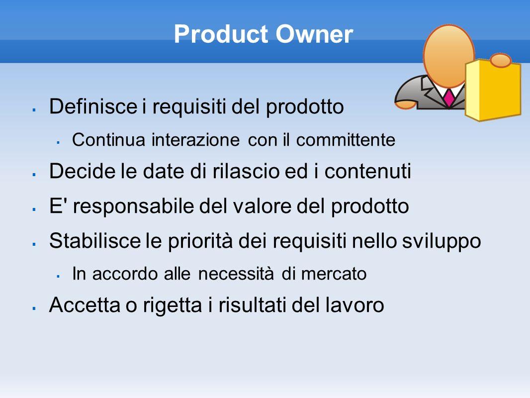 Scrum Master È il Team Leader Interfaccia il management con il team E responsabile nell implementare la cultura Scrum nel Team Rimuove eventuali impedimenti Assicura la produttività al team Lo protegge da interferenze esterne Permette la cooperazione tra i ruoli e le funzioni