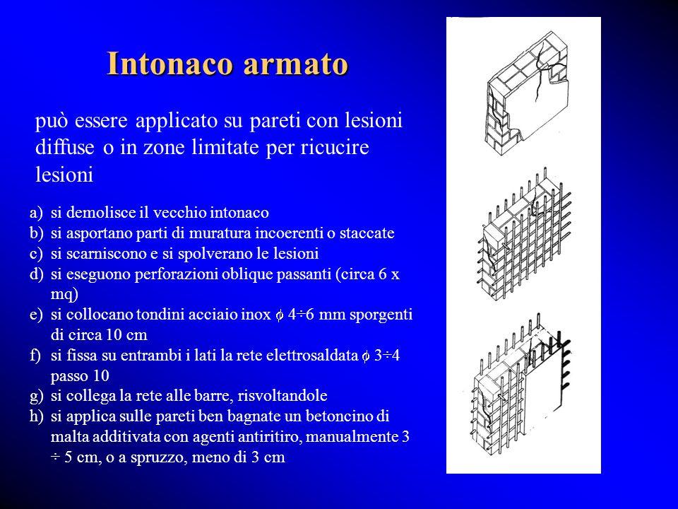 Intonaco armato può essere applicato su pareti con lesioni diffuse o in zone limitate per ricucire lesioni a)si demolisce il vecchio intonaco b)si asp