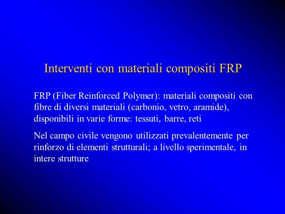 Interventi con materiali compositi FRP FRP (Fiber Reinforced Polymer): materiali compositi con fibre di diversi materiali (carbonio, vetro, aramide),