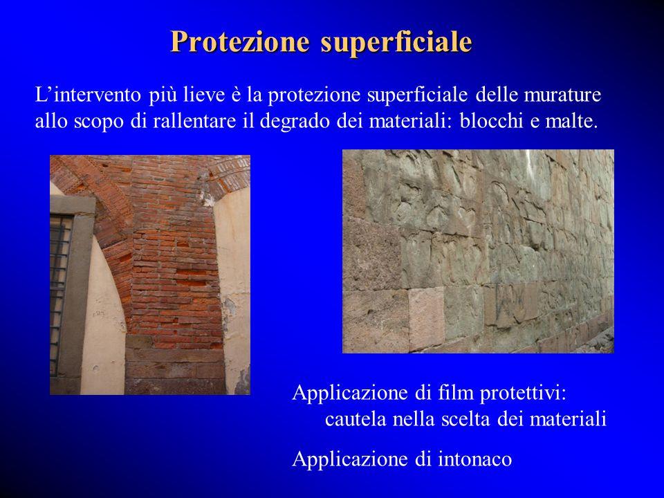 Protezione superficiale Lintervento più lieve è la protezione superficiale delle murature allo scopo di rallentare il degrado dei materiali: blocchi e