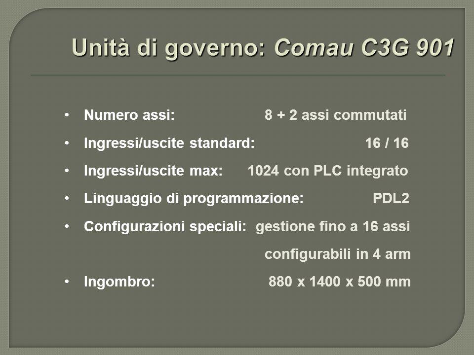 Numero assi: 8 + 2 assi commutati Ingressi/uscite standard: 16 / 16 Ingressi/uscite max: 1024 con PLC integrato Linguaggio di programmazione: PDL2 Con