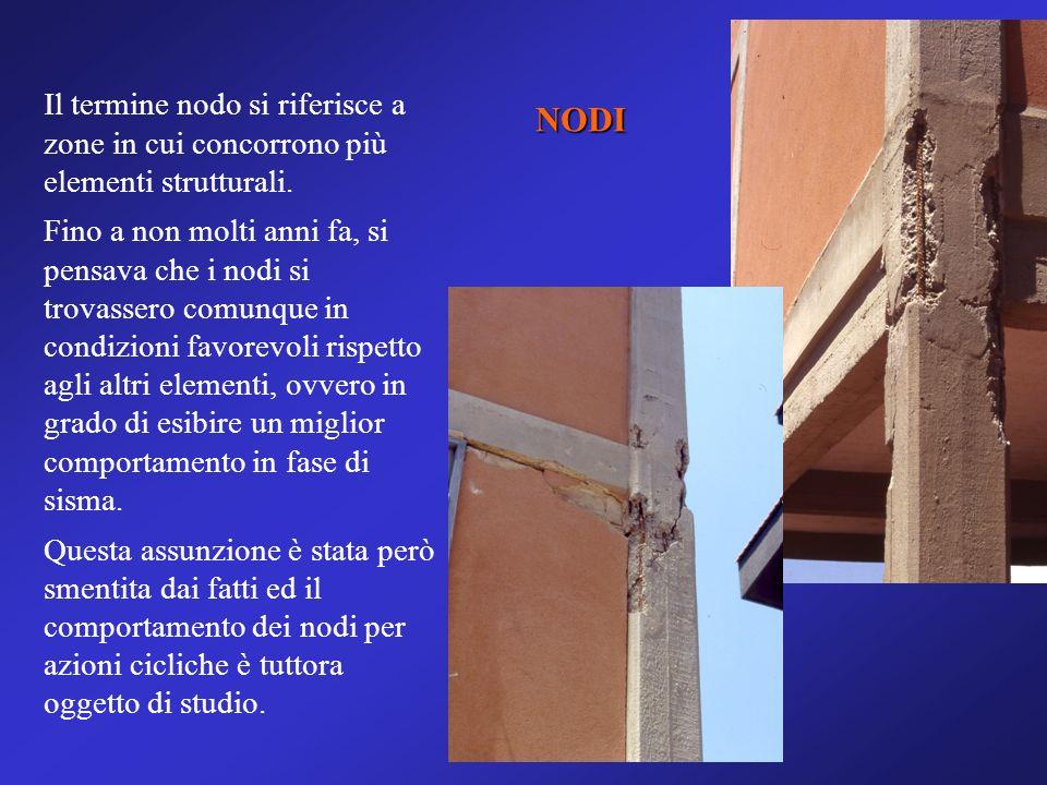 NODI Il termine nodo si riferisce a zone in cui concorrono più elementi strutturali. Fino a non molti anni fa, si pensava che i nodi si trovassero com