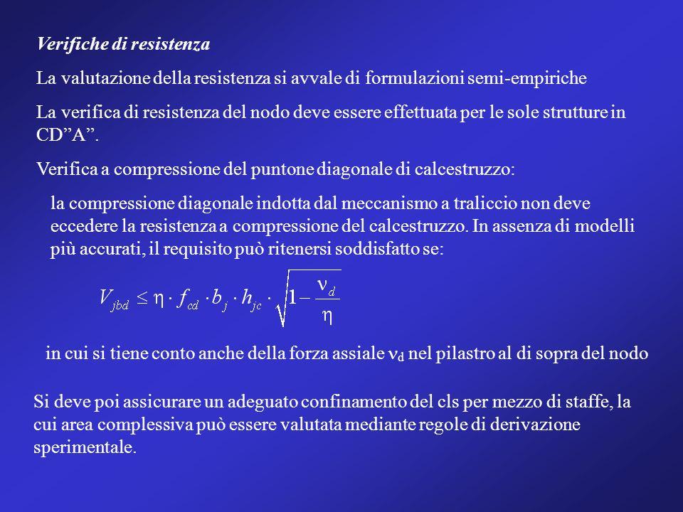 Verifiche di resistenza La valutazione della resistenza si avvale di formulazioni semi-empiriche La verifica di resistenza del nodo deve essere effett