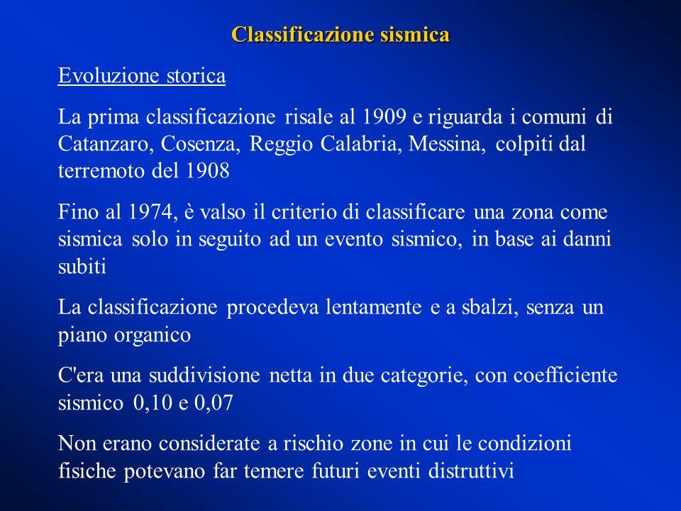 Evoluzione storica La prima classificazione risale al 1909 e riguarda i comuni di Catanzaro, Cosenza, Reggio Calabria, Messina, colpiti dal terremoto
