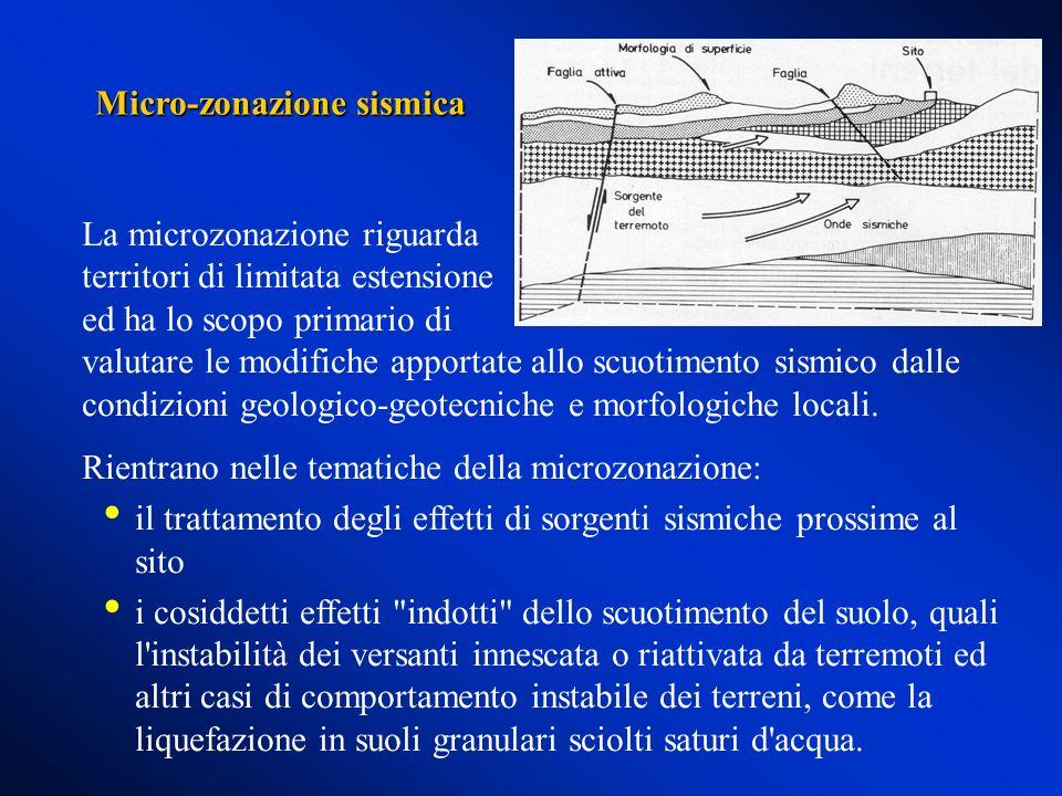 La microzonazione riguarda territori di limitata estensione ed ha lo scopo primario di valutare le modifiche apportate allo scuotimento sismico dalle