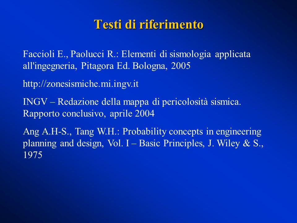 Testi di riferimento Faccioli E., Paolucci R.: Elementi di sismologia applicata all'ingegneria, Pitagora Ed. Bologna, 2005 http://zonesismiche.mi.ingv