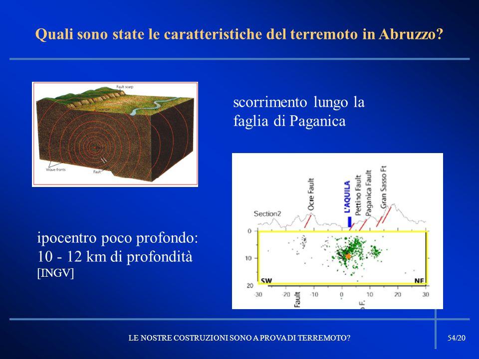 Quali sono state le caratteristiche del terremoto in Abruzzo? LE NOSTRE COSTRUZIONI SONO A PROVA DI TERREMOTO?54/20 ipocentro poco profondo: 10 - 12 k