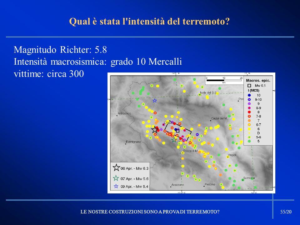 Magnitudo Richter: 5.8 Intensità macrosismica: grado 10 Mercalli vittime: circa 300 Qual è stata l'intensità del terremoto? LE NOSTRE COSTRUZIONI SONO