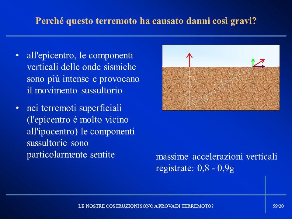 all'epicentro, le componenti verticali delle onde sismiche sono più intense e provocano il movimento sussultorio nei terremoti superficiali (l'epicent