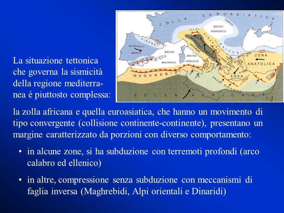 Per quanto riguarda l Italia, due strutture hanno un ruolo chiave nella situazione tettonica: la microzolla adriatica e il bacino tirrenico Alla dinamica, strettamente interconnessa, di queste strutture sono dovuti i terremoti più importanti che si sono verificati in Italia (Friuli, 1976-77, terremoti dell Appennino meridionale)