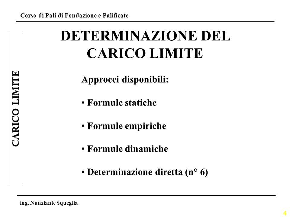 4 Corso di Pali di Fondazione e Palificate ing. Nunziante Squeglia CARICO LIMITE DETERMINAZIONE DEL CARICO LIMITE Approcci disponibili: Formule static