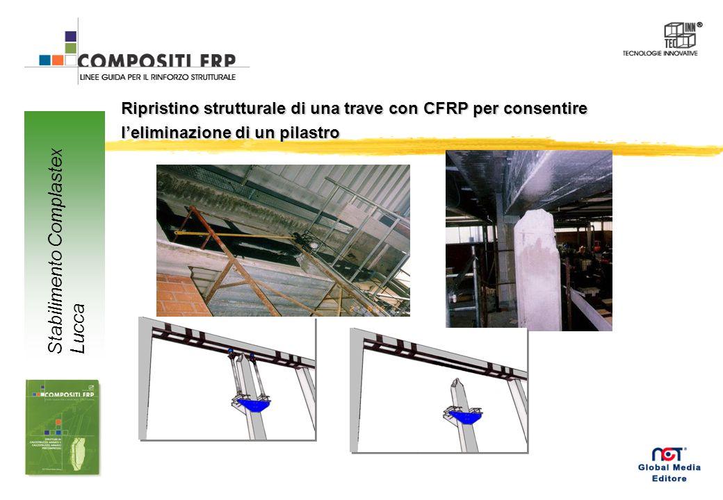 Ripristino strutturale di una trave con CFRP per consentire leliminazione di un pilastro Stabilimento Complastex Lucca