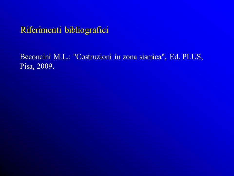 Riferimenti bibliografici Beconcini M.L.: Costruzioni in zona sismica , Ed. PLUS, Pisa, 2009.