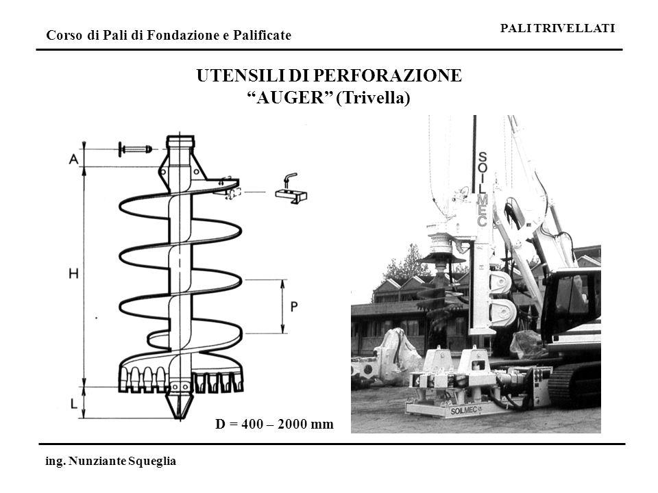 Corso di Pali di Fondazione e Palificate ing. Nunziante Squeglia UTENSILI DI PERFORAZIONE AUGER (Trivella) D = 400 – 2000 mm PALI TRIVELLATI