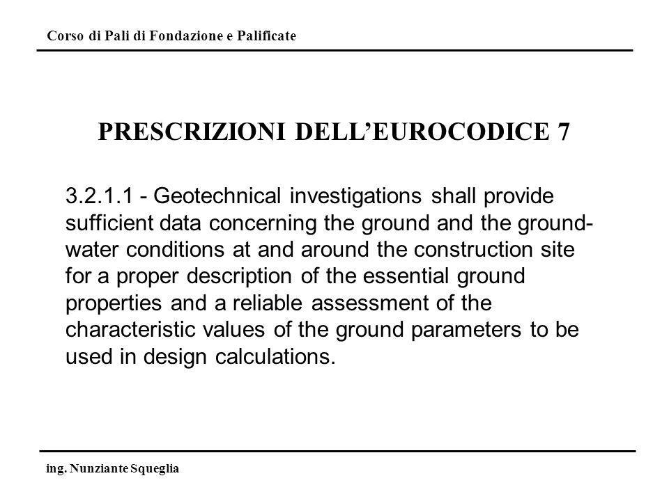 Corso di Pali di Fondazione e Palificate ing. Nunziante Squeglia 3.2.1.1 - Geotechnical investigations shall provide sufficient data concerning the gr