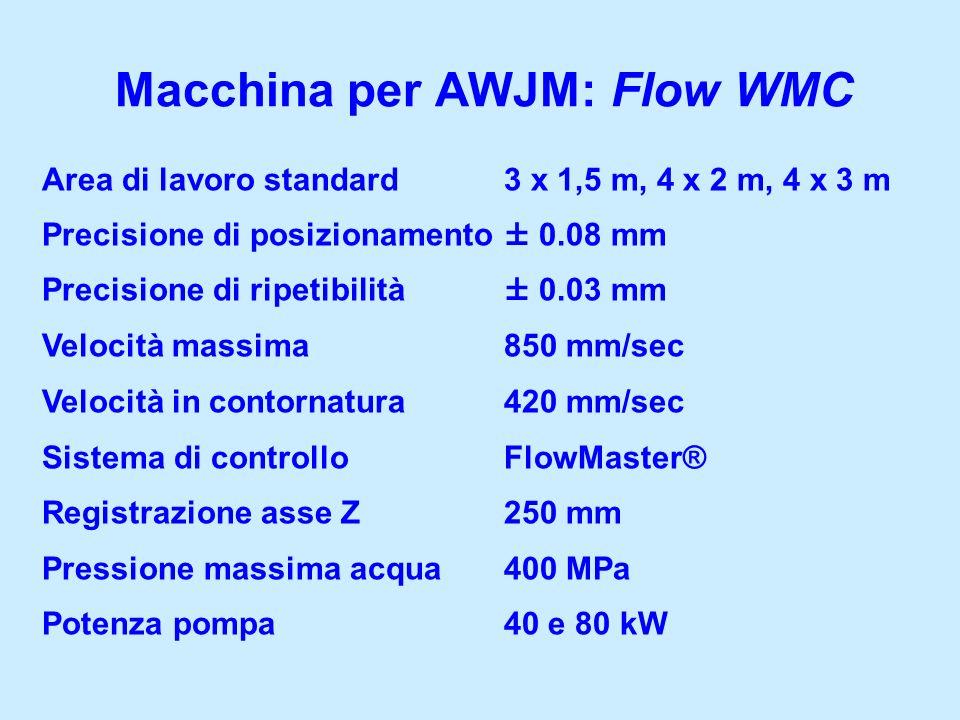Macchina per AWJM: Flow WMC Area di lavoro standard 3 x 1,5 m, 4 x 2 m, 4 x 3 m Precisione di posizionamento ± 0.08 mm Precisione di ripetibilità ± 0.