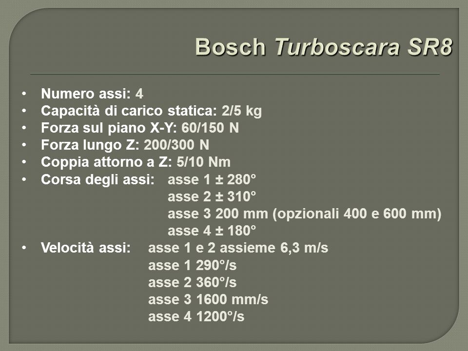 Numero assi: 4 Capacità di carico statica: 2/5 kg Forza sul piano X-Y: 60/150 N Forza lungo Z: 200/300 N Coppia attorno a Z: 5/10 Nm Corsa degli assi: asse 1 ± 280° asse 2 ± 310° asse 3 200 mm (opzionali 400 e 600 mm) asse 4 ± 180° Velocità assi: asse 1 e 2 assieme 6,3 m/s asse 1 290°/s asse 2 360°/s asse 3 1600 mm/s asse 4 1200°/s