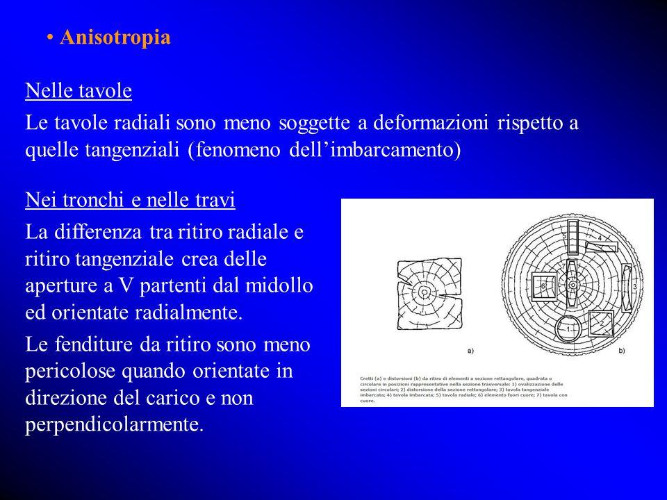 Nelle tavole Le tavole radiali sono meno soggette a deformazioni rispetto a quelle tangenziali (fenomeno dellimbarcamento) Nei tronchi e nelle travi La differenza tra ritiro radiale e ritiro tangenziale crea delle aperture a V partenti dal midollo ed orientate radialmente.
