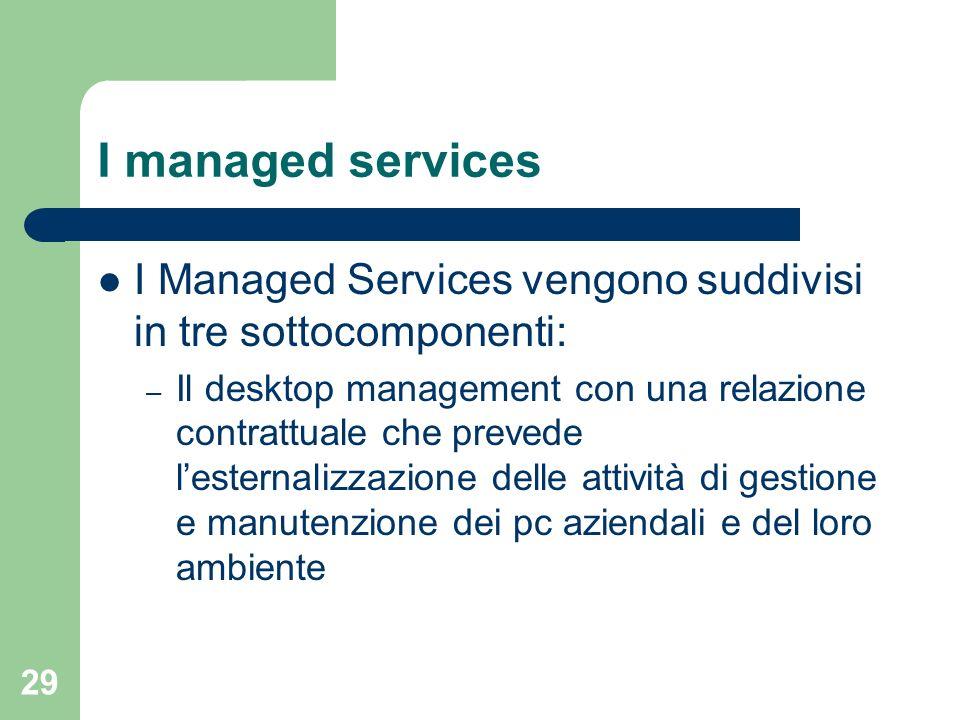 29 I managed services I Managed Services vengono suddivisi in tre sottocomponenti: – Il desktop management con una relazione contrattuale che prevede lesternalizzazione delle attività di gestione e manutenzione dei pc aziendali e del loro ambiente