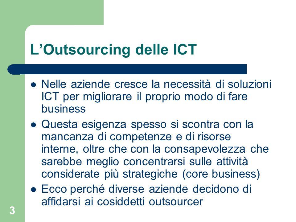 3 LOutsourcing delle ICT Nelle aziende cresce la necessità di soluzioni ICT per migliorare il proprio modo di fare business Questa esigenza spesso si scontra con la mancanza di competenze e di risorse interne, oltre che con la consapevolezza che sarebbe meglio concentrarsi sulle attività considerate più strategiche (core business) Ecco perché diverse aziende decidono di affidarsi ai cosiddetti outsourcer