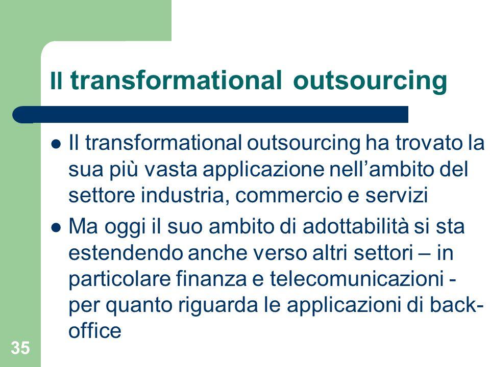 35 Il transformational outsourcing Il transformational outsourcing ha trovato la sua più vasta applicazione nellambito del settore industria, commercio e servizi Ma oggi il suo ambito di adottabilità si sta estendendo anche verso altri settori – in particolare finanza e telecomunicazioni - per quanto riguarda le applicazioni di back- office