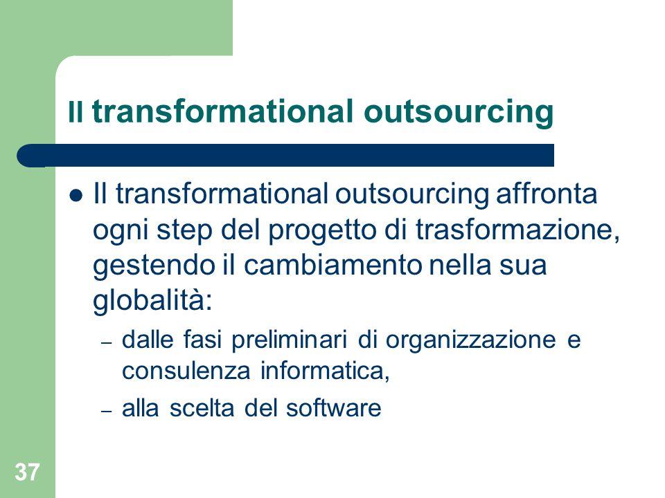 37 Il transformational outsourcing Il transformational outsourcing affronta ogni step del progetto di trasformazione, gestendo il cambiamento nella sua globalità: – dalle fasi preliminari di organizzazione e consulenza informatica, – alla scelta del software