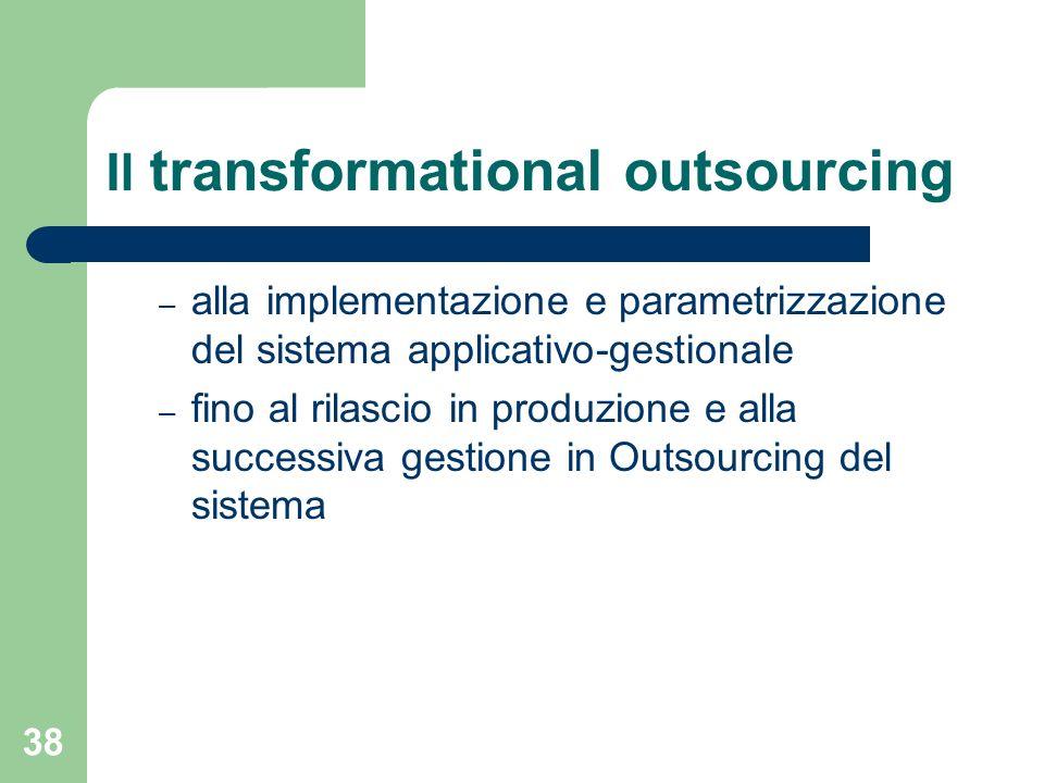 38 Il transformational outsourcing – alla implementazione e parametrizzazione del sistema applicativo-gestionale – fino al rilascio in produzione e alla successiva gestione in Outsourcing del sistema
