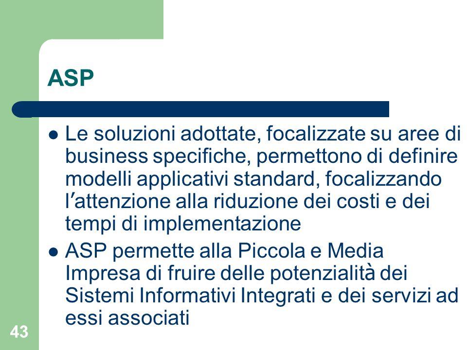 43 ASP Le soluzioni adottate, focalizzate su aree di business specifiche, permettono di definire modelli applicativi standard, focalizzando l attenzione alla riduzione dei costi e dei tempi di implementazione ASP permette alla Piccola e Media Impresa di fruire delle potenzialit à dei Sistemi Informativi Integrati e dei servizi ad essi associati