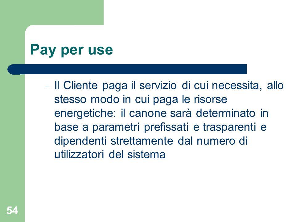 54 Pay per use – Il Cliente paga il servizio di cui necessita, allo stesso modo in cui paga le risorse energetiche: il canone sarà determinato in base a parametri prefissati e trasparenti e dipendenti strettamente dal numero di utilizzatori del sistema
