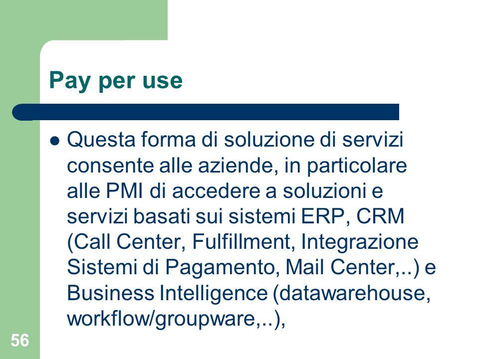 56 Pay per use Questa forma di soluzione di servizi consente alle aziende, in particolare alle PMI di accedere a soluzioni e servizi basati sui sistemi ERP, CRM (Call Center, Fulfillment, Integrazione Sistemi di Pagamento, Mail Center,..) e Business Intelligence (datawarehouse, workflow/groupware,..),
