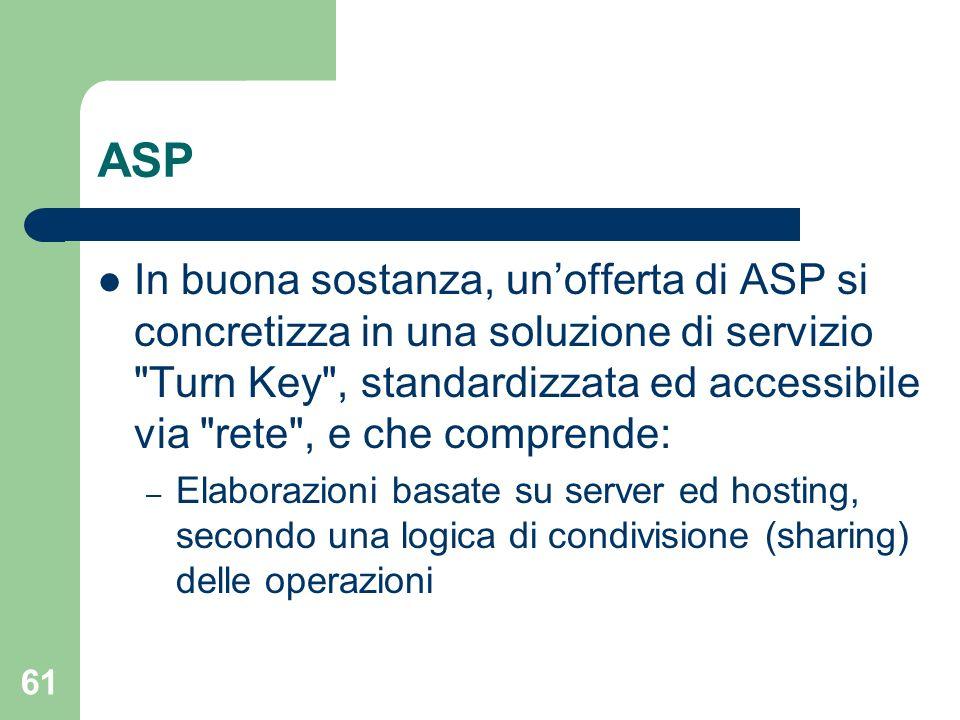 61 ASP In buona sostanza, unofferta di ASP si concretizza in una soluzione di servizio Turn Key , standardizzata ed accessibile via rete , e che comprende: – Elaborazioni basate su server ed hosting, secondo una logica di condivisione (sharing) delle operazioni