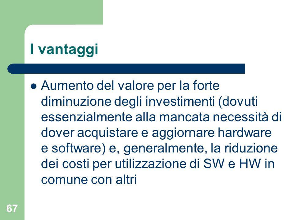 67 I vantaggi Aumento del valore per la forte diminuzione degli investimenti (dovuti essenzialmente alla mancata necessità di dover acquistare e aggiornare hardware e software) e, generalmente, la riduzione dei costi per utilizzazione di SW e HW in comune con altri