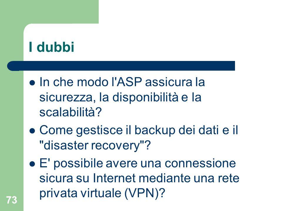 73 I dubbi In che modo l ASP assicura la sicurezza, la disponibilità e la scalabilità.
