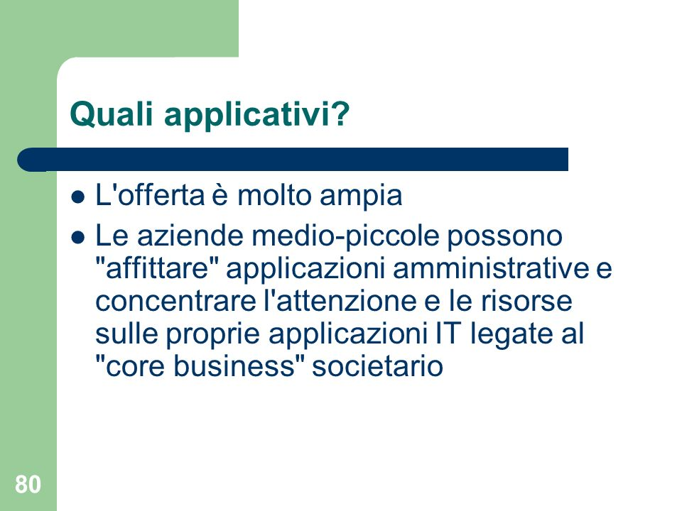 80 Quali applicativi.