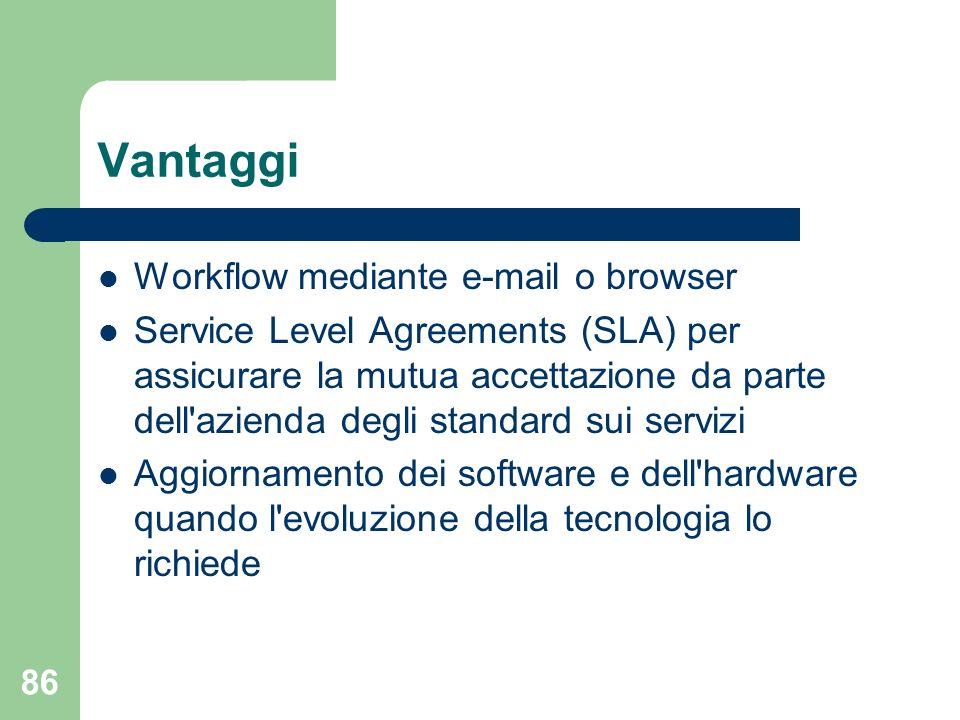 86 Vantaggi Workflow mediante e-mail o browser Service Level Agreements (SLA) per assicurare la mutua accettazione da parte dell azienda degli standard sui servizi Aggiornamento dei software e dell hardware quando l evoluzione della tecnologia lo richiede