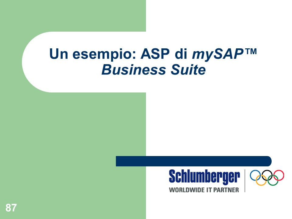 87 Un esempio: ASP di mySAP Business Suite