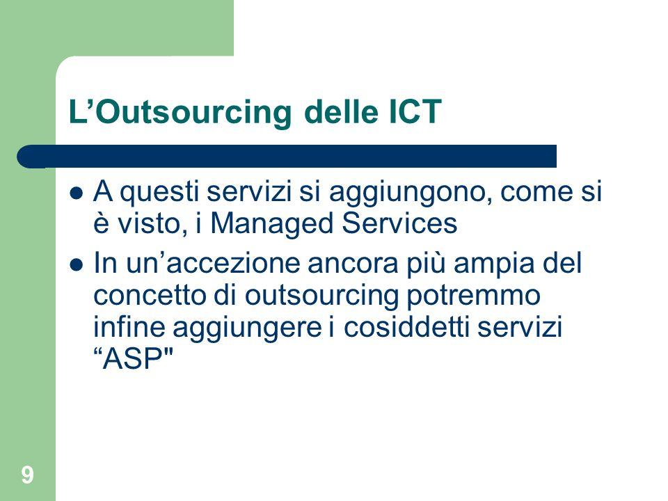 9 LOutsourcing delle ICT A questi servizi si aggiungono, come si è visto, i Managed Services In unaccezione ancora più ampia del concetto di outsourcing potremmo infine aggiungere i cosiddetti servizi ASP