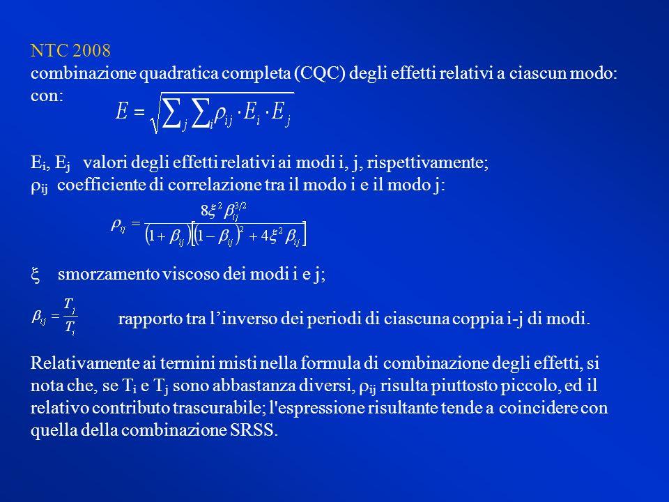 NTC 2008 combinazione quadratica completa (CQC) degli effetti relativi a ciascun modo: con: E i, E j valori degli effetti relativi ai modi i, j, rispe
